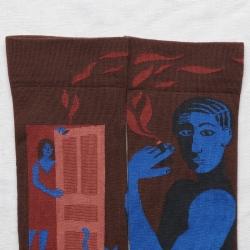 socks - bonne maison -  Smoker - Chestnut - women - men - mixed