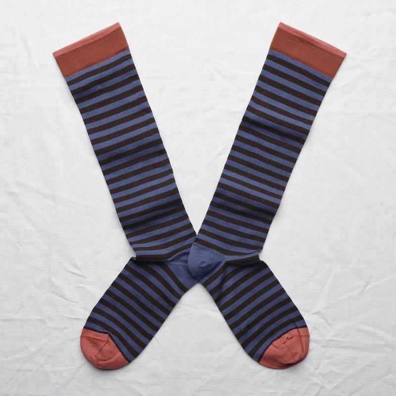 socks - bonne maison -  Stripe - Denim - women - men - mixed