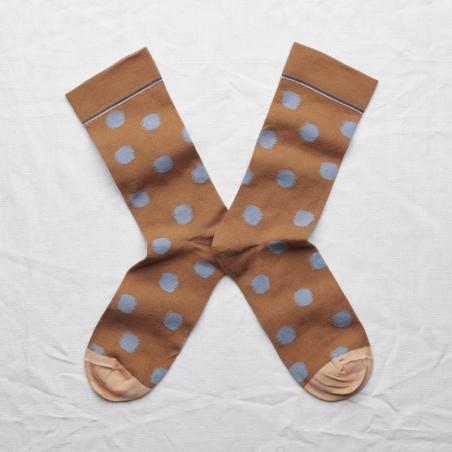 chaussettes - bonne maison -  Pois - Caramel - femme - homme - mixte