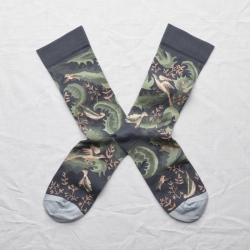 socks - bonne maison -  Birds - Steel - women - men - mixed