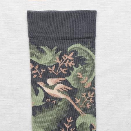 socks - bonne maison -  Birds - Steel - women - men - mixed