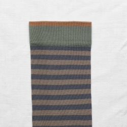 socks - bonne maison -  Stripe - Steel - women - men - mixed