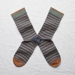 socks - bonne maison -  Stripe - Steel - women - men - mixed