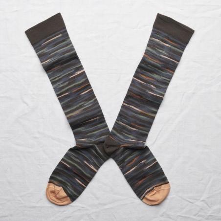 chaussettes - bonne maison -  Ikat - Terre d'ombre - femme - homme - mixte