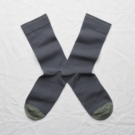socks - bonne maison -  Plain - Steel - women - men - mixed