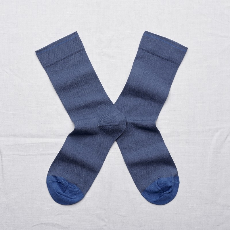 socks - bonne maison -  Plain - Denim- women - men - mixed
