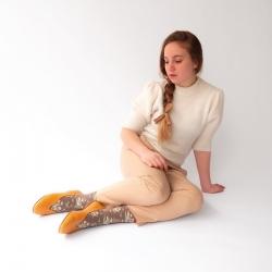 chaussettes - bonne maison -  Bouquet - Taupe - femme - homme - mixte
