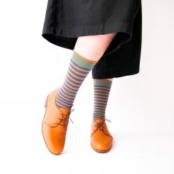 chaussettes - bonne maison -  Rayure - Acier - femme - homme - mixte