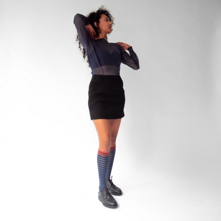 chaussettes - bonne maison -  Rayure - Denim - femme - homme - mixte