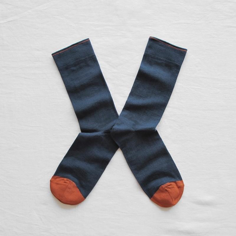 chaussettes - bonne maison -  uni ardoise - bleu - femme - homme - mixte