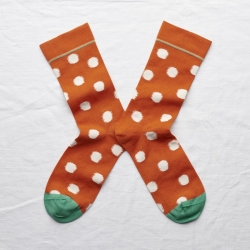 socks - bonne maison -  Polka Dot - Orange - women - men - mixed