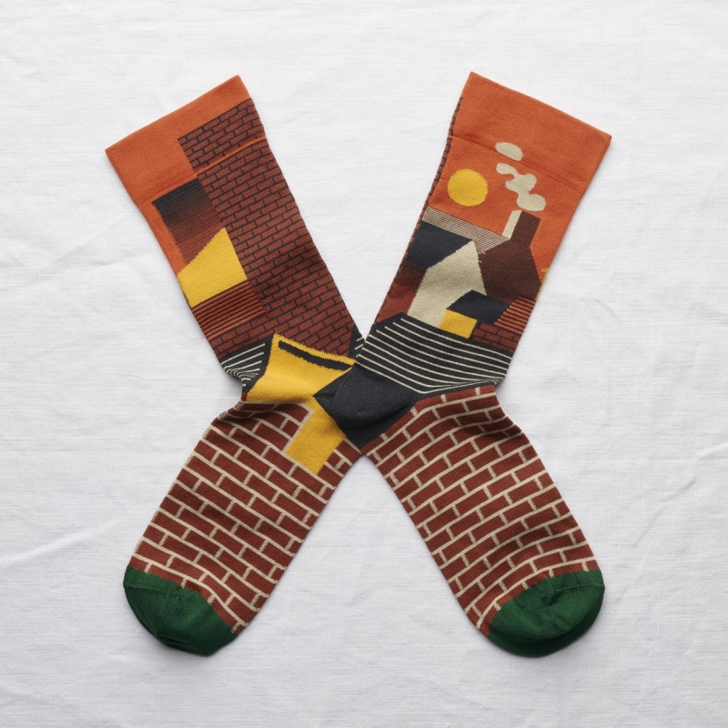 socks - bonne maison -  City - Orange - women - men - mixed