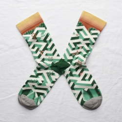 chaussettes - bonne maison -  Labyrinthe - Vert Ming - femme - homme - mixte