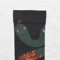 chaussettes - bonne maison -  Serpent - Faux Noir - femme - homme - mixte