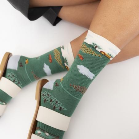 -chaussettes - bonne maison -  Tracteur - Vert Ming - femme - homme - mixte