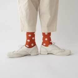 socks - bonne maison -  Polka Dot - Orange - women - men - mixed