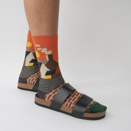 chaussettes - bonne maison -  Ville - Orange - femme - homme - mixte