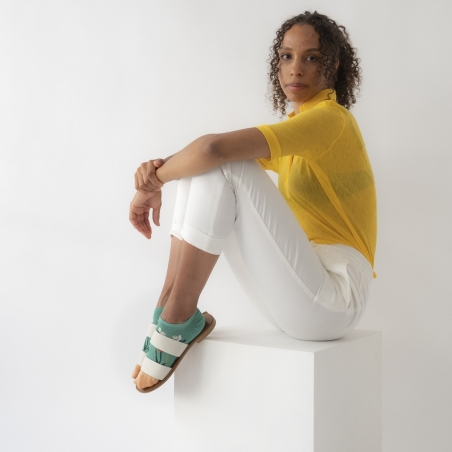 chaussettes - bonne maison -  Tulipe - Vert Ming - femme - homme - mixte