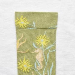 chaussettes - bonne maison -  Hippocampe - Vert mousse - femme - homme - mixte