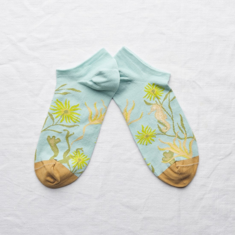 socks - bonne maison -  Seahorse - Aqua - women - men - mixed