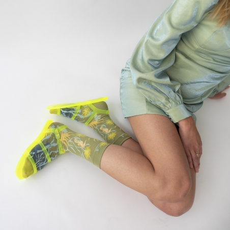 socks - bonne maison -  Seahorse - Moss - women - men - mixed