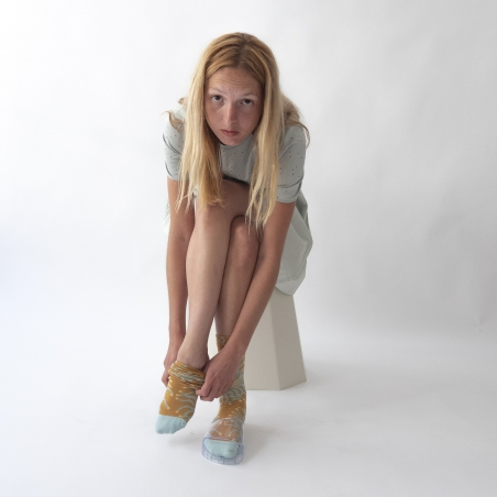 chaussettes - bonne maison -  Anémone - Ocre - femme - homme - mixte