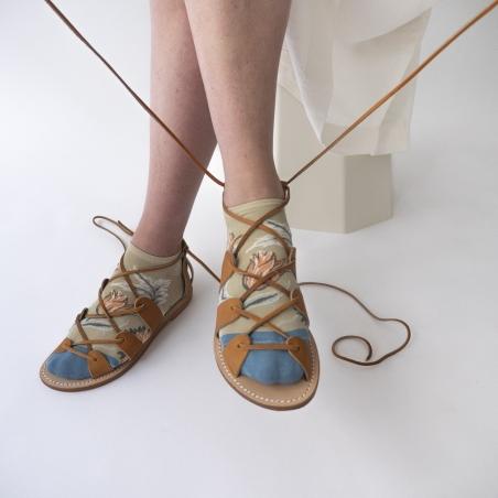 socks - bonne maison -  Indienne - Celadon - women - men - mixed