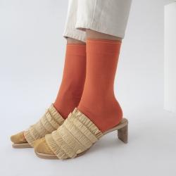 socks - bonne maison -  Plain - Orange - women - men - mixed