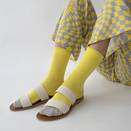 chaussettes - bonne maison -  Uni - Jaune fluo - femme - homme - mixte