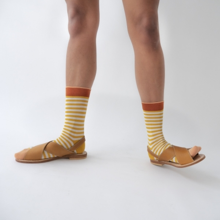 socks - bonne maison -  Stripe - Buttercup - women - men - mixed