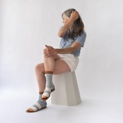 chaussettes - bonne maison -  Rayure - Bleu Paradis - femme - homme - mixte