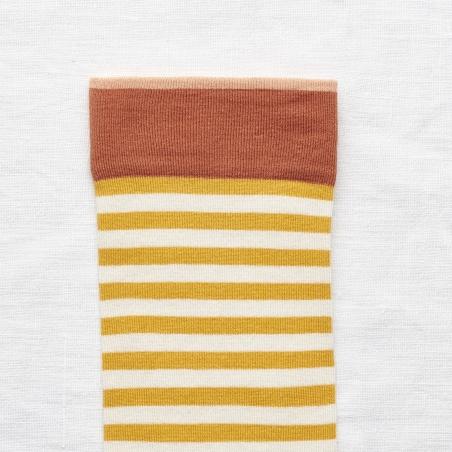 chaussettes - bonne maison -  Rayure - Bouton d'Or - femme - homme - mixte