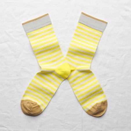 chaussettes - bonne maison -  Rayure - Jaune Fluo - femme - homme - mixte