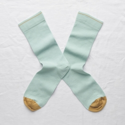 socks - bonne maison -  Plain - Aqua - women - men - mixed