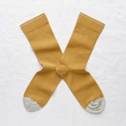socks - bonne maison -  Plain - Ochre - women - men - mixed