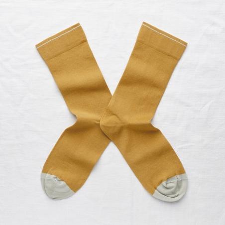 socks - bonne maison -  Plain - Ochre - women - men - mixed