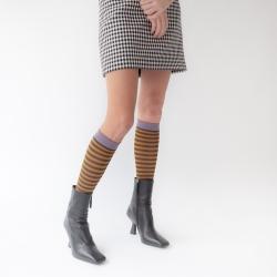 socks - bonne maison -  Stripe - Umber - women - men - mixed