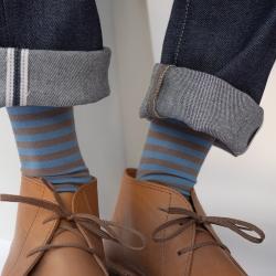socks - bonne maison -  Stripe - Taupe - women - men - mixed