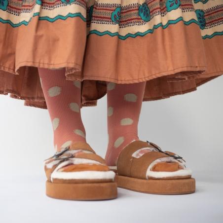 socks - bonne maison -  Polka Dot - Red Ochre - women - men - mixed