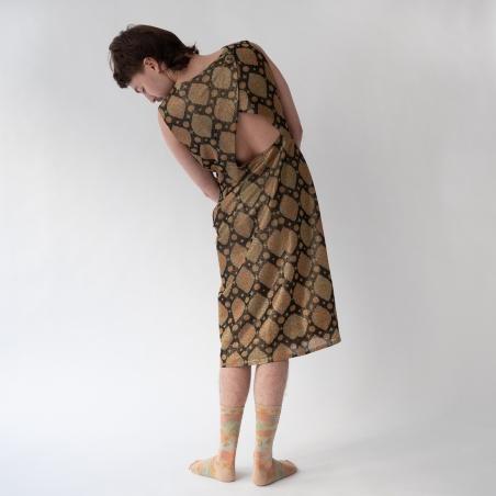 socks - bonne maison -  Checkered - Sand - women - men - mixed
