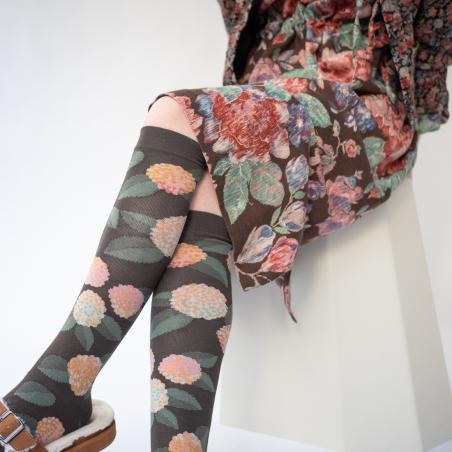 socks - bonne maison -  Hydrangea - Umber - women - men - mixed