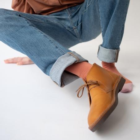socks - bonne maison -  Plain - Red Ochre - women - men - mixed