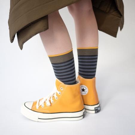 chaussettes - bonne maison -  Rayure - Faux noir - femme - homme - mixte