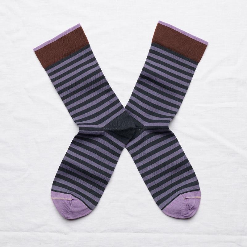 chaussettes - bonne maison -  Rayure - Nuit - femme - homme - mixte
