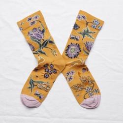 chaussettes - bonne maison -  Indienne - Ocre - femme - homme - mixte