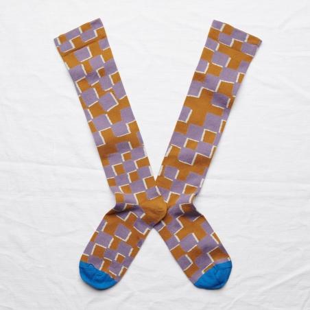 socks - bonne maison -  Checkerboard - Cinnamon - women - men - mixed