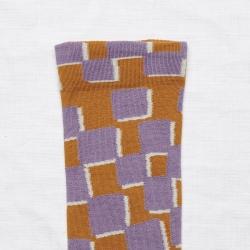 chaussettes - bonne maison -  Damier - Cannelle - femme - homme - mixte
