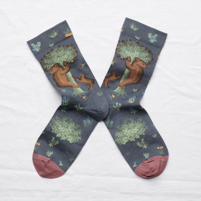 chaussettes - bonne maison -  Ours - Acier - femme - homme - mixte