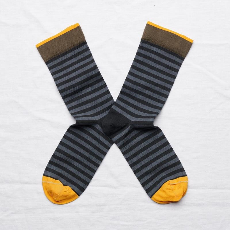 socks - bonne maison -  Stripe - Dark - women - men - mixed