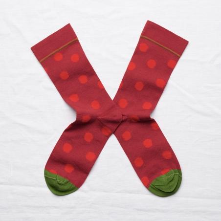 socks - bonne maison -  Polka Dot - Crimson - women - men - mixed